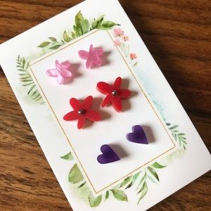 Lillian Stud & Heart earring 3 pack